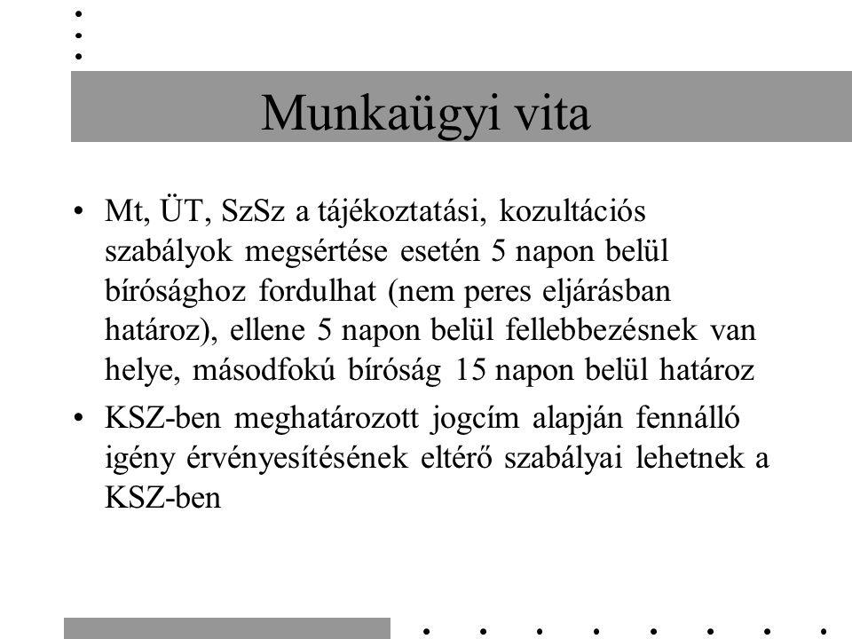 Munkaügyi vita Mt, ÜT, SzSz a tájékoztatási, kozultációs szabályok megsértése esetén 5 napon belül bírósághoz fordulhat (nem peres eljárásban határoz)