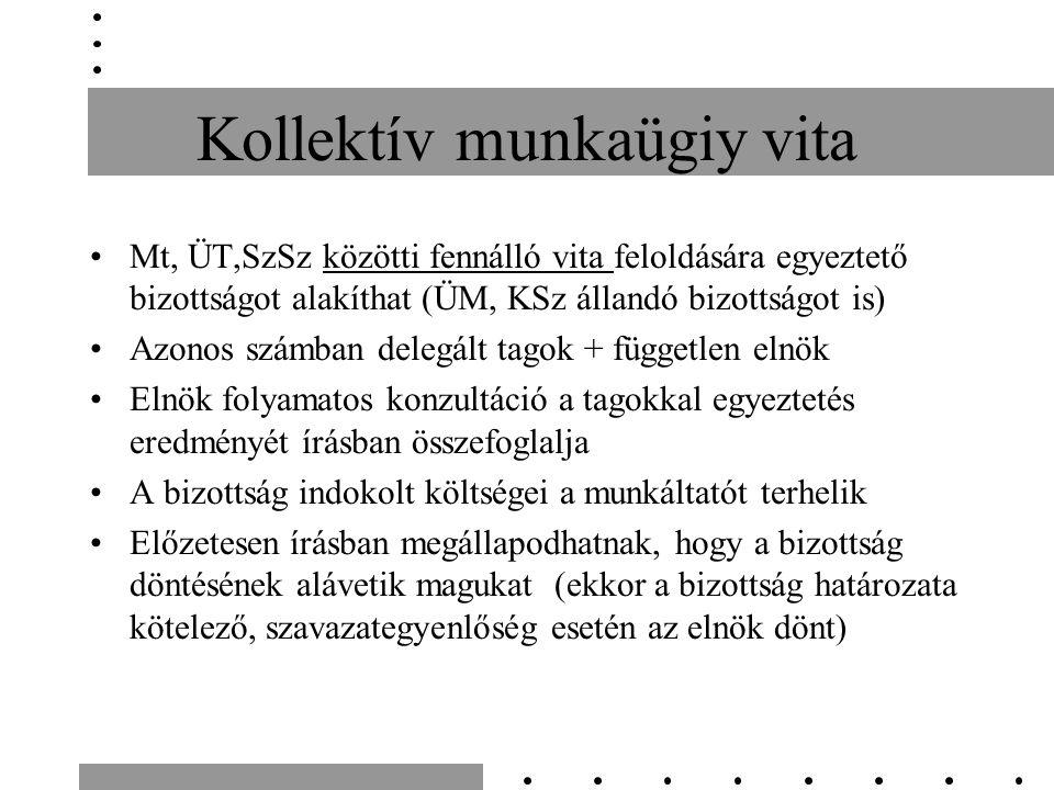 Kollektív munkaügiy vita Mt, ÜT,SzSz közötti fennálló vita feloldására egyeztető bizottságot alakíthat (ÜM, KSz állandó bizottságot is) Azonos számban