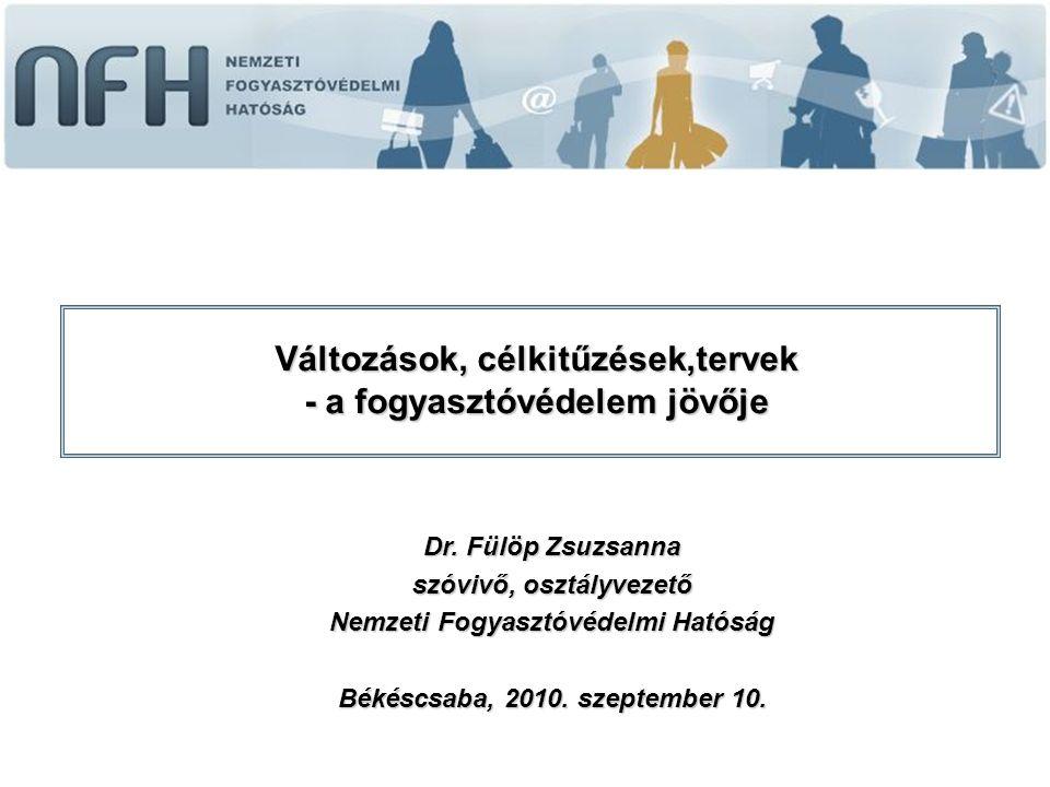 Dr. Fülöp Zsuzsanna szóvivő, osztályvezető Nemzeti Fogyasztóvédelmi Hatóság Békéscsaba, 2010.