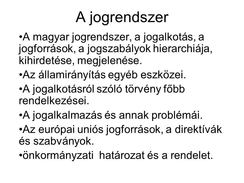 A jogrendszer A magyar jogrendszer, a jogalkotás, a jogforrások, a jogszabályok hierarchiája, kihirdetése, megjelenése.