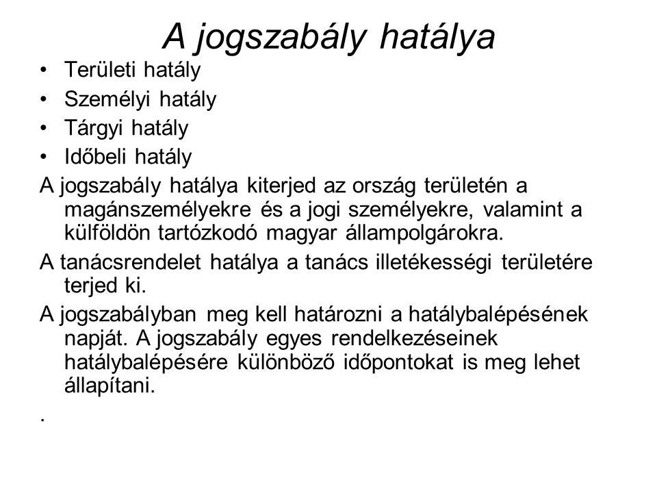 A jogszabály hatálya Területi hatály Személyi hatály Tárgyi hatály Időbeli hatály A jogszabály hatálya kiterjed az ország területén a magánszemélyekre és a jogi személyekre, valamint a külföldön tartózkodó magyar állampolgárokra.