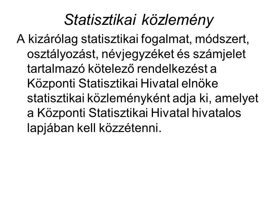 Statisztikai közlemény A kizárólag statisztikai fogalmat, módszert, osztályozást, névjegyzéket és számjelet tartalmazó kötelező rendelkezést a Központi Statisztikai Hivatal elnöke statisztikai közleményként adja ki, amelyet a Központi Statisztikai Hivatal hivatalos lapjában kell közzétenni.