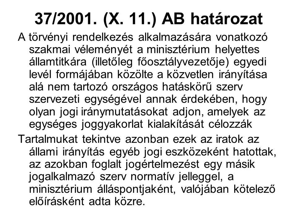 37/2001. (X.