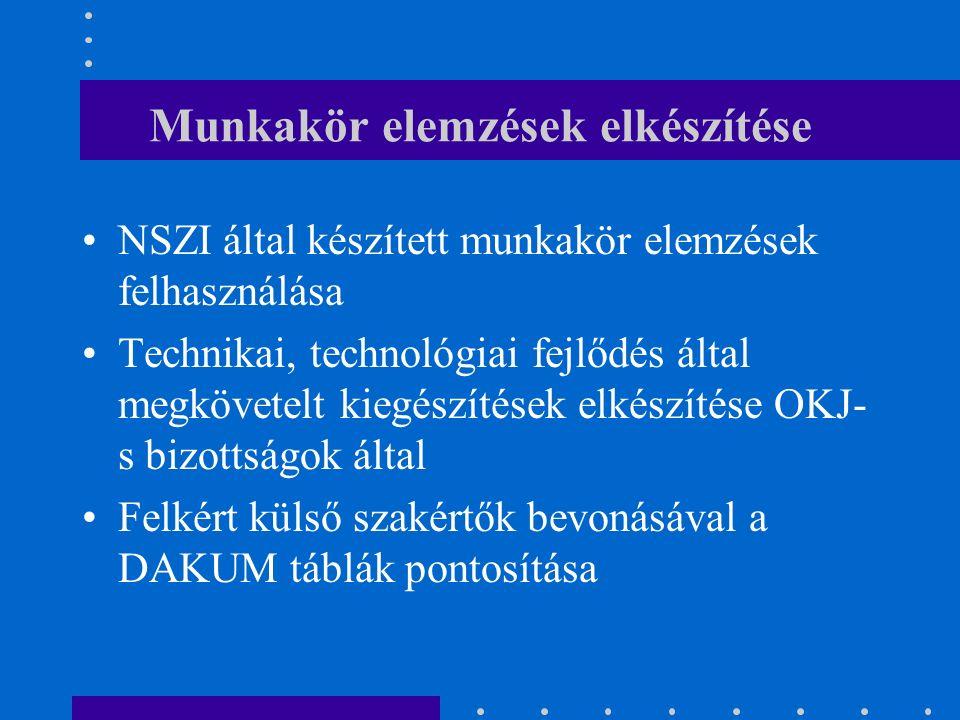 Munkakör elemzések elkészítése NSZI által készített munkakör elemzések felhasználása Technikai, technológiai fejlődés által megkövetelt kiegészítések elkészítése OKJ- s bizottságok által Felkért külső szakértők bevonásával a DAKUM táblák pontosítása