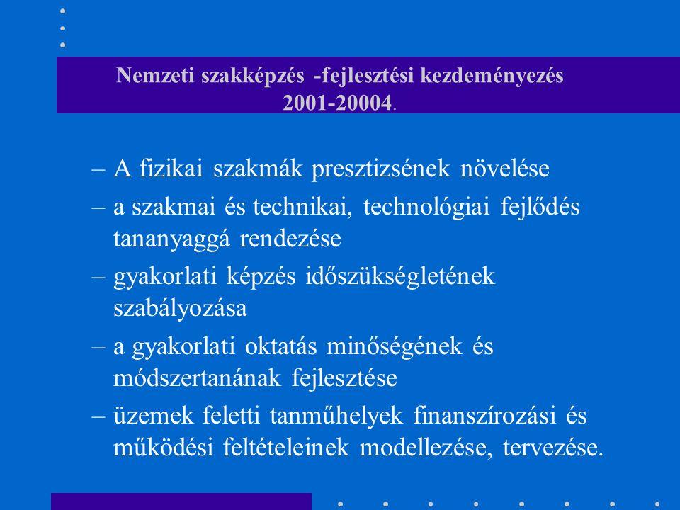 Nemzeti szakképzés -fejlesztési kezdeményezés 2001-20004.