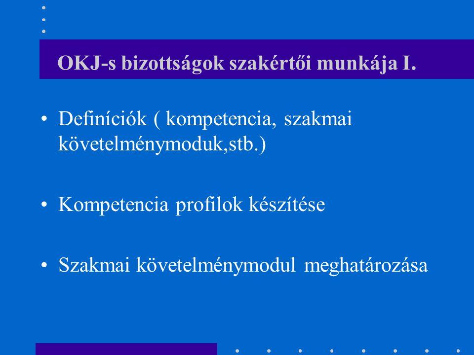 OKJ-s bizottságok szakértői munkája I.