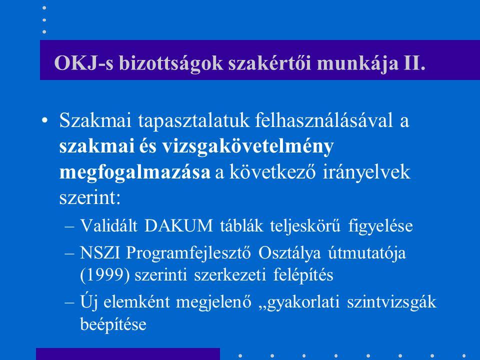 OKJ-s bizottságok szakértői munkája II.