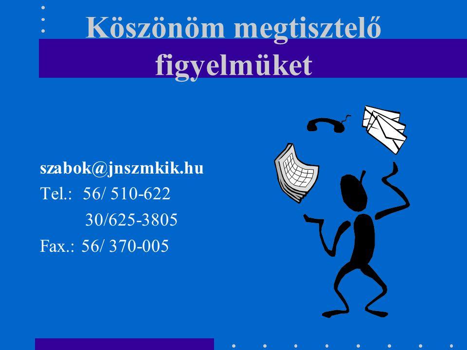 Köszönöm megtisztelő figyelmüket szabok@jnszmkik.hu Tel.: 56/ 510-622 30/625-3805 Fax.: 56/ 370-005