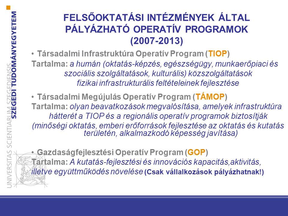 FELSŐOKTATÁSI INTÉZMÉNYEK ÁLTAL PÁLYÁZHATÓ OPERATÍV PROGRAMOK (2007-2013) Társadalmi Infrastruktúra Operatív Program (TIOP) Tartalma: a humán (oktatás