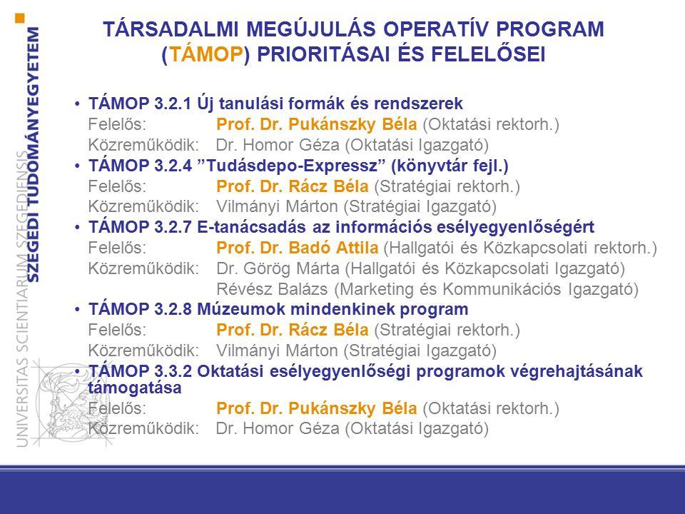 TÁRSADALMI MEGÚJULÁS OPERATÍV PROGRAM (TÁMOP) PRIORITÁSAI ÉS FELELŐSEI TÁMOP 3.2.1 Új tanulási formák és rendszerek Felelős: Prof. Dr. Pukánszky Béla