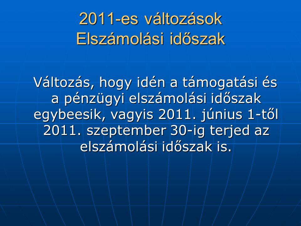2011-es változások Elszámolási időszak Változás, hogy idén a támogatási és a pénzügyi elszámolási időszak egybeesik, vagyis 2011.