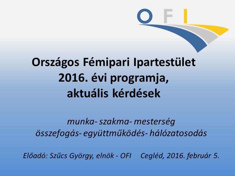 Országos Fémipari Ipartestület 2016. évi programja, aktuális kérdések munka- szakma- mesterség összefogás- együttműködés- hálózatosodás Előadó: Szűcs