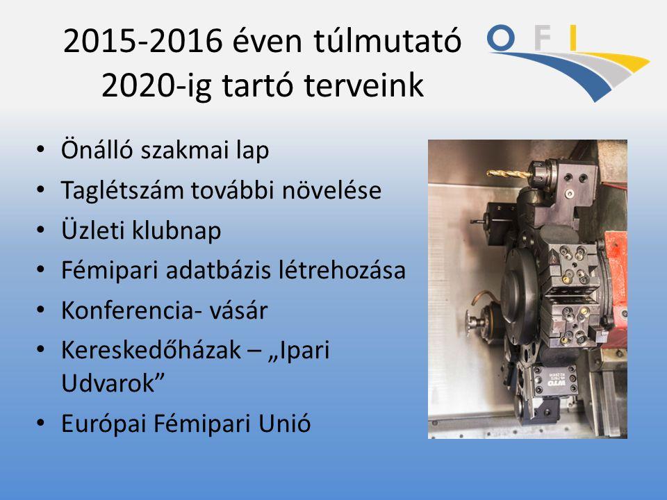 """2015-2016 éven túlmutató 2020-ig tartó terveink Önálló szakmai lap Taglétszám további növelése Üzleti klubnap Fémipari adatbázis létrehozása Konferencia- vásár Kereskedőházak – """"Ipari Udvarok Európai Fémipari Unió"""