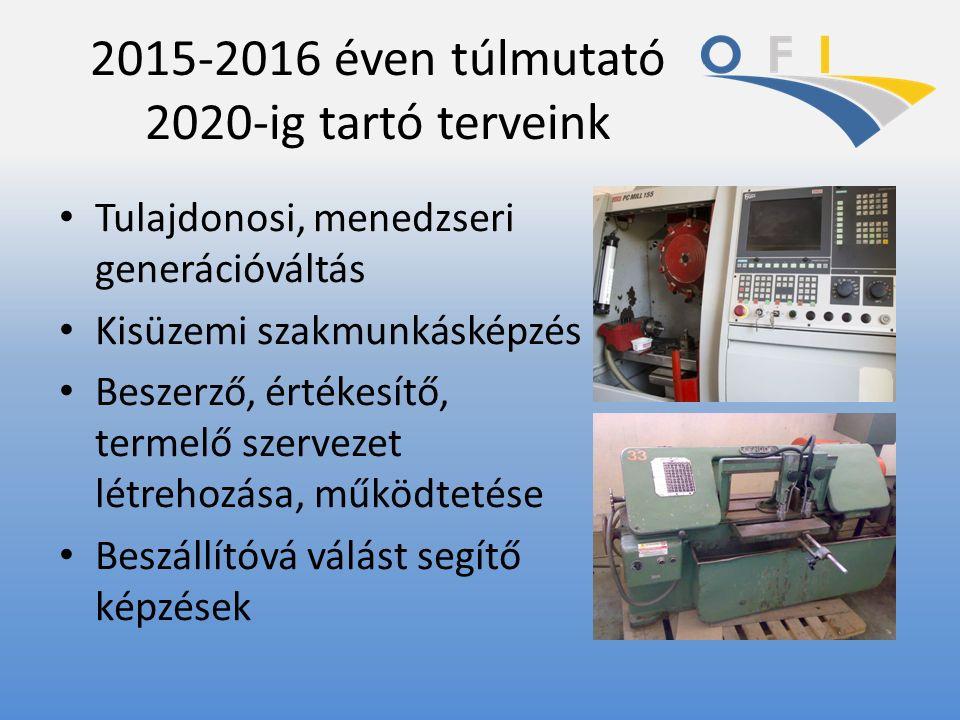 2015-2016 éven túlmutató 2020-ig tartó terveink Tulajdonosi, menedzseri generációváltás Kisüzemi szakmunkásképzés Beszerző, értékesítő, termelő szervezet létrehozása, működtetése Beszállítóvá válást segítő képzések