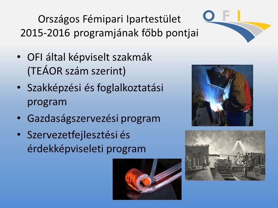 Országos Fémipari Ipartestület 2015-2016 programjának főbb pontjai OFI által képviselt szakmák (TEÁOR szám szerint) Szakképzési és foglalkoztatási pro