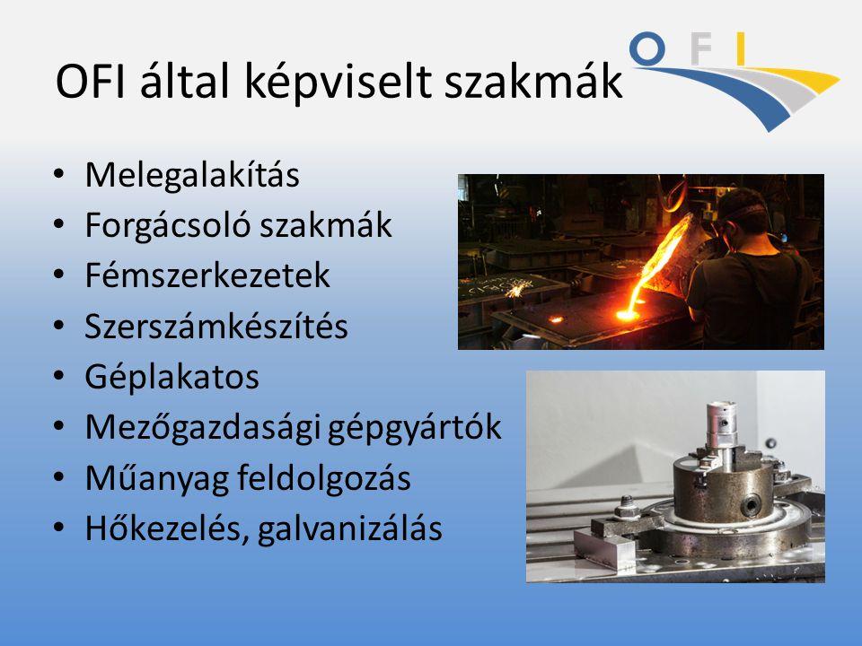 OFI által képviselt szakmák Melegalakítás Forgácsoló szakmák Fémszerkezetek Szerszámkészítés Géplakatos Mezőgazdasági gépgyártók Műanyag feldolgozás H
