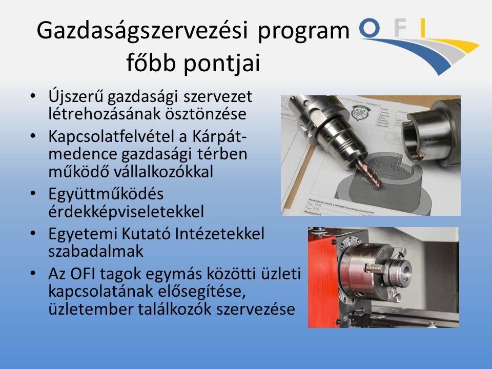 Gazdaságszervezési program főbb pontjai Újszerű gazdasági szervezet létrehozásának ösztönzése Kapcsolatfelvétel a Kárpát- medence gazdasági térben műk