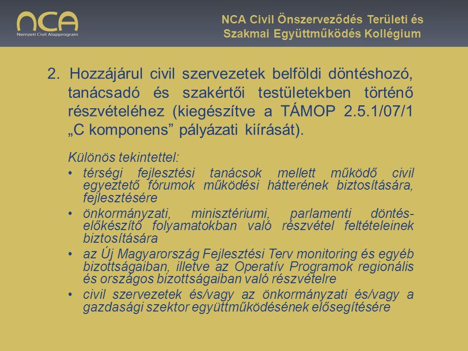 """Hozzájárul civil szervezetek belföldi döntéshozó, tanácsadó és szakértői testületekben történő részvételéhez (kiegészítve a TÁMOP 2.5.1/07/1 """"C kompon"""