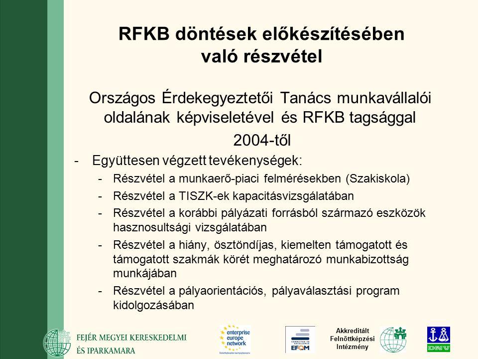 Akkreditált Felnőttképzési Intézmény RFKB döntések előkészítésében való részvétel Országos Érdekegyeztetői Tanács munkavállalói oldalának képviseletével és RFKB tagsággal 2004-től -Együttesen végzett tevékenységek: -Részvétel a munkaerő-piaci felmérésekben (Szakiskola) -Részvétel a TISZK-ek kapacitásvizsgálatában -Részvétel a korábbi pályázati forrásból származó eszközök hasznosultsági vizsgálatában -Részvétel a hiány, ösztöndíjas, kiemelten támogatott és támogatott szakmák körét meghatározó munkabizottság munkájában -Részvétel a pályaorientációs, pályaválasztási program kidolgozásában