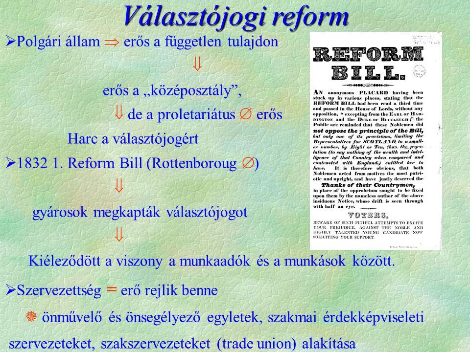 """Választójogi reform  Polgári állam  erős a független tulajdon  erős a """"középosztály"""",  de a proletariátus  erős Harc a választójogért  1832 1. R"""