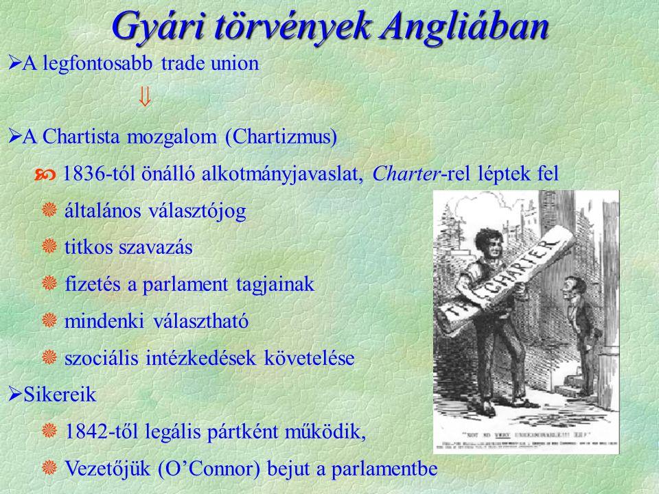  A legfontosabb trade union   A Chartista mozgalom (Chartizmus)  1836-tól önálló alkotmányjavaslat, Charter-rel léptek fel  általános választójog