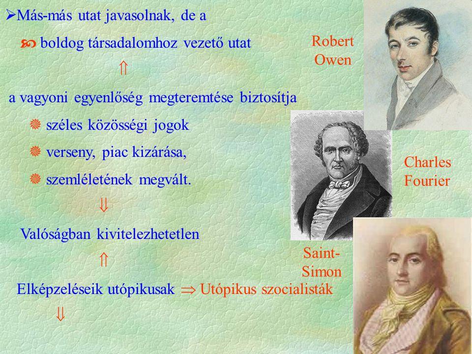 Saint- Simon Charles Fourier Robert Owen  Más-más utat javasolnak, de a  boldog társadalomhoz vezető utat  a vagyoni egyenlőség megteremtése biztos