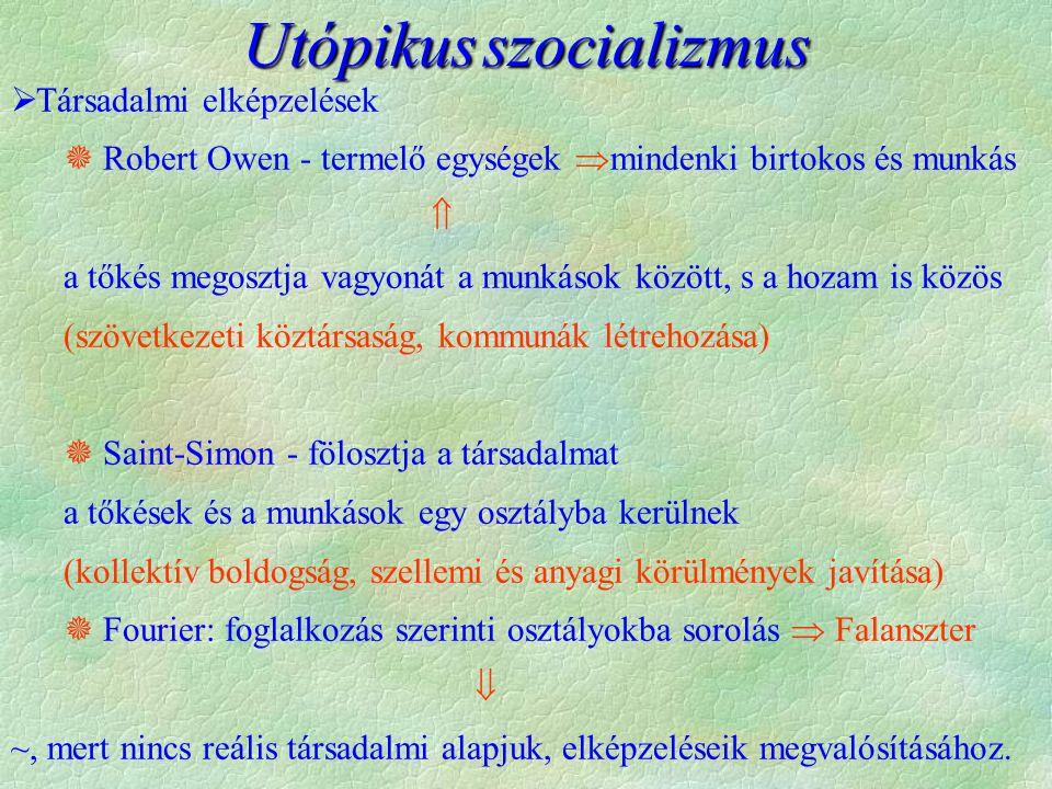Utópikusszocializmus Utópikus szocializmus  Társadalmi elképzelések  Robert Owen - termelő egységek  mindenki birtokos és munkás  a tőkés megosztj