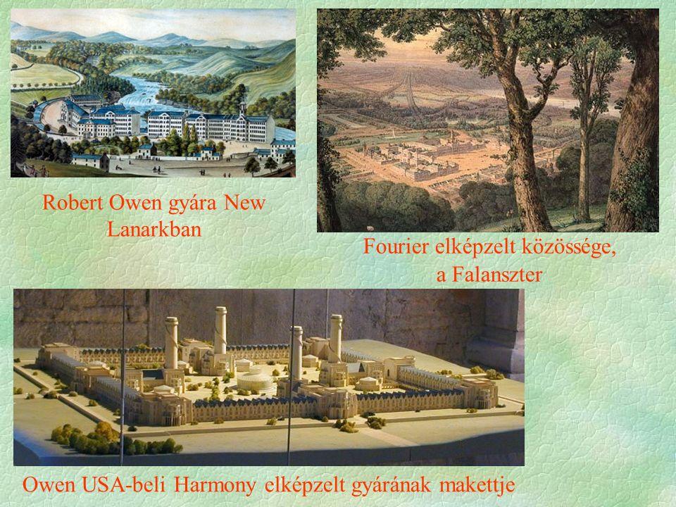 Robert Owen gyára New Lanarkban Owen USA-beli Harmony elképzelt gyárának makettje Fourier elképzelt közössége, a Falanszter