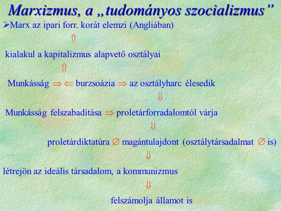 Marx az ipari forr. korát elemzi (Angliában)  kialakul a kapitalizmus alapvető osztályai  Munkásság   burzsoázia  az osztályharc élesedik  Mun