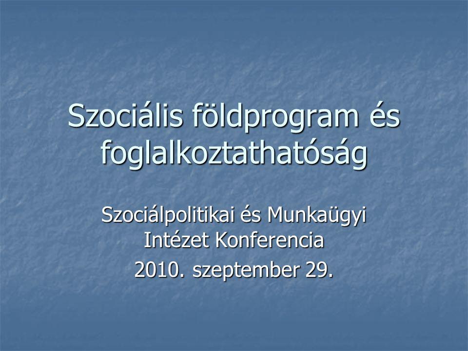 Szociális földprogram és foglalkoztathatóság Szociálpolitikai és Munkaügyi Intézet Konferencia 2010. szeptember 29.