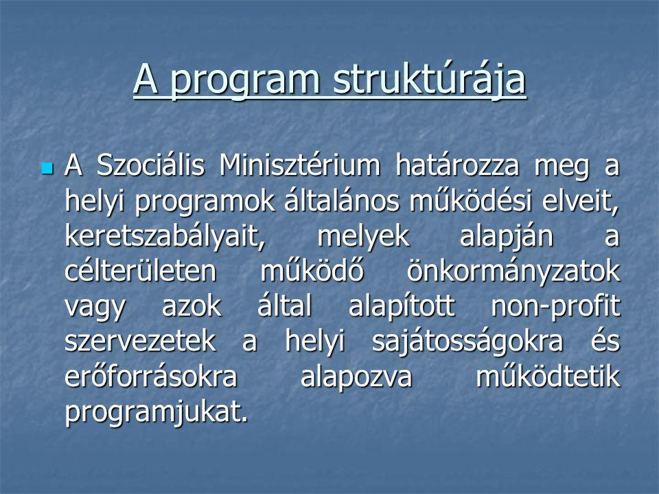 A program struktúrája A Szociális Minisztérium határozza meg a helyi programok általános működési elveit, keretszabályait, melyek alapján a célterület