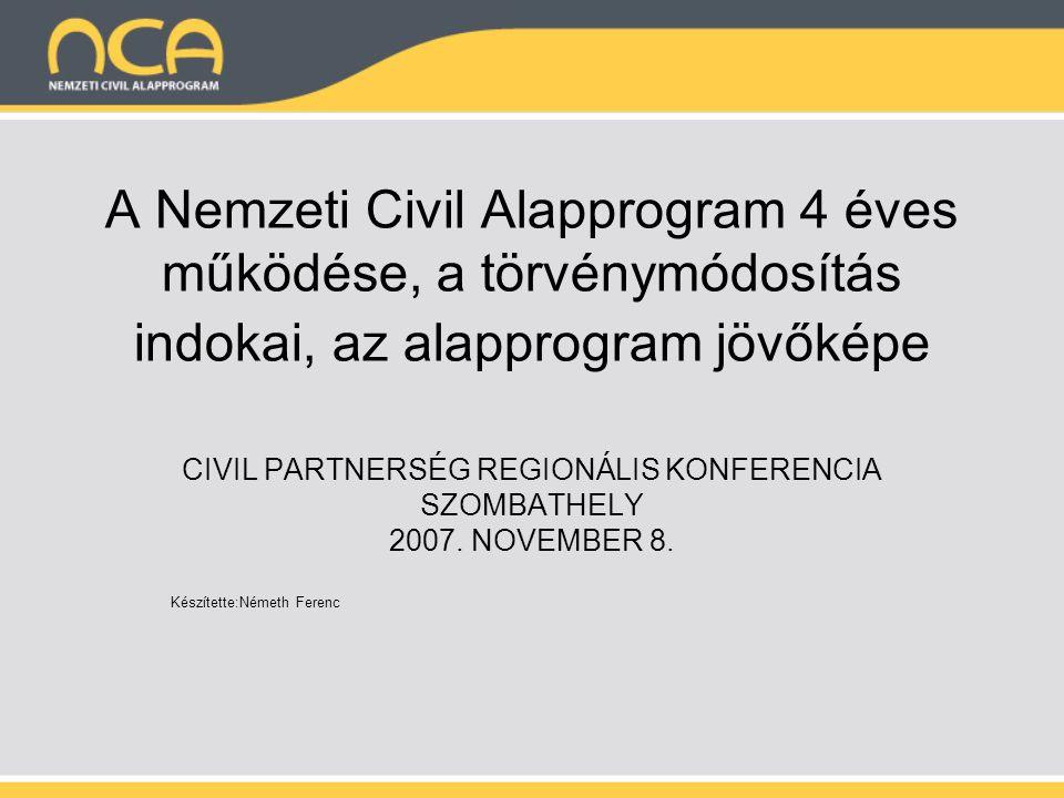 A Nemzeti Civil Alapprogram 4 éves működése, a törvénymódosítás indokai, az alapprogram jövőképe CIVIL PARTNERSÉG REGIONÁLIS KONFERENCIA SZOMBATHELY 2007.