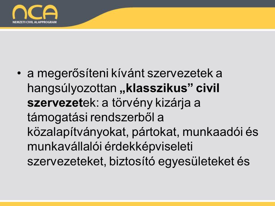 """a megerősíteni kívánt szervezetek a hangsúlyozottan """"klasszikus civil szervezetek: a törvény kizárja a támogatási rendszerből a közalapítványokat, pártokat, munkaadói és munkavállalói érdekképviseleti szervezeteket, biztosító egyesületeket és"""
