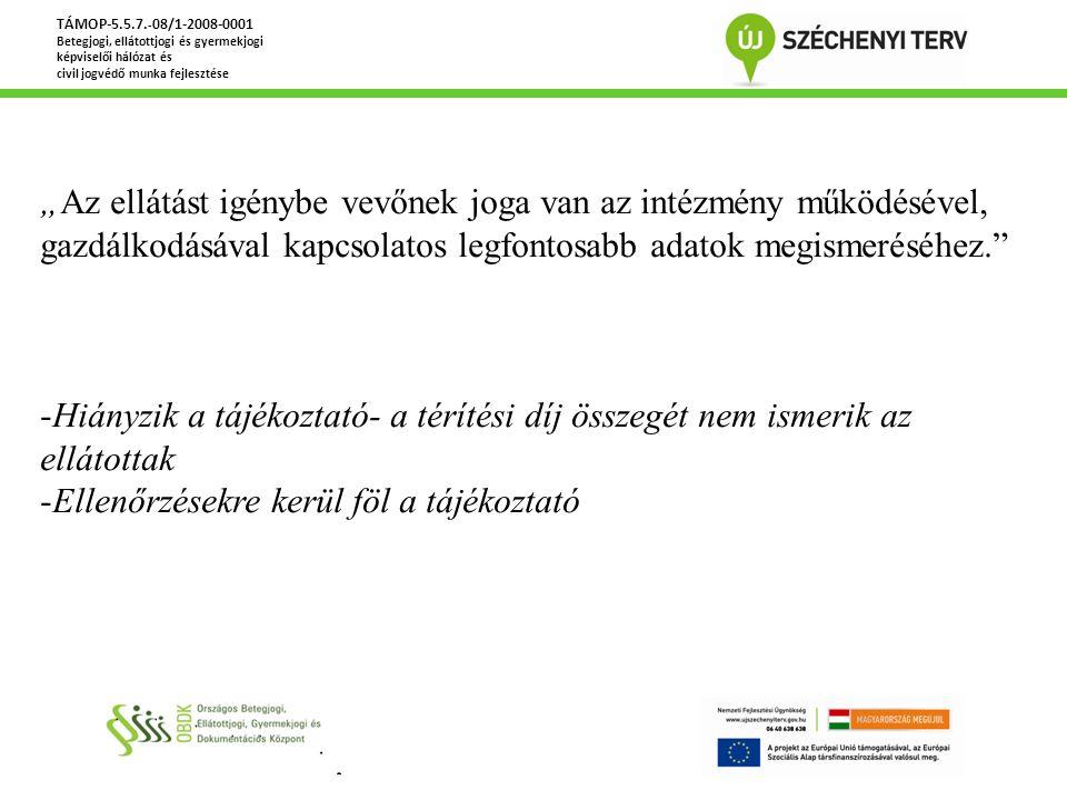 """TÁMOP-5.5.7. - 08/1-2008-0001 Betegjogi, ellátottjogi és gyermekjogi képviselői hálózat és civil jogvédő munka fejlesztése """"Az ellátást igénybe vevőne"""