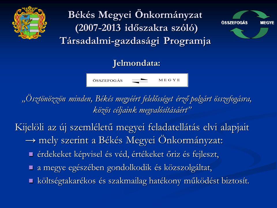 """ÖSSZEFOGÁSMEGYE Békés Megyei Önkormányzat (2007-2013 időszakra szóló) Társadalmi-gazdasági Programja Jelmondata: """"Ösztönözzön minden, Békés megyéért felelősséget érző polgárt összefogásra, közös céljaink megvalósításáért Kijelöli az új szemléletű megyei feladatellátás elvi alapjait → mely szerint a Békés Megyei Önkormányzat: érdekeket képvisel és véd, értékeket őriz és fejleszt, érdekeket képvisel és véd, értékeket őriz és fejleszt, a megye egészében gondolkodik és közszolgáltat, a megye egészében gondolkodik és közszolgáltat, költségtakarékos és szakmailag hatékony működést biztosít."""