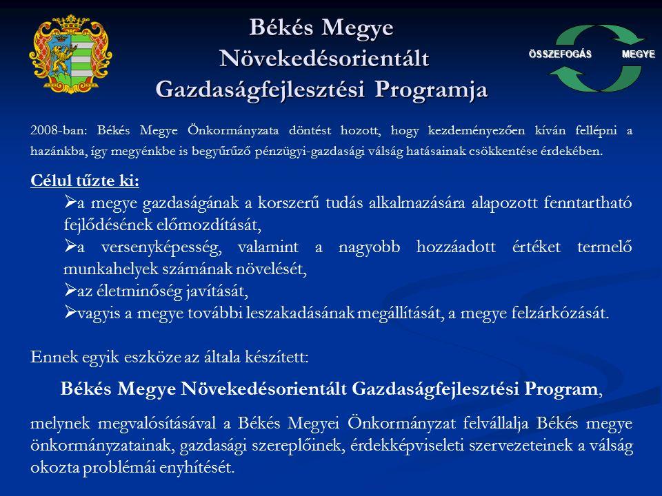 ÖSSZEFOGÁSMEGYE Munkacsoportok A Békés Megyei Önkormányzat által, a gazdasági válság kezelésére és az abból kivezető reformjavaslatok kidolgozására, valamint a megújulás érdekében létrehozott munkacsoportok: 1.Előrehozott önkormányzati beruházások 2.Szakképzés, felnőttképzés, hiányszakmák 3.Közös beszerzések 4.Érdekképviselet és koordináció 5.Kommunikáció, marketing, piacra jutás 6.Innováció, tudásbázis fejlesztés, klaszterek 7.Civil szervezetek támogatása 8.Pályakezdő diplomások támogatása 9.Feladat átvételek FORRÁS: 633.375.000.-Ft A gazdasági válságból kivezető út: gazdasági növekedés élénkítése