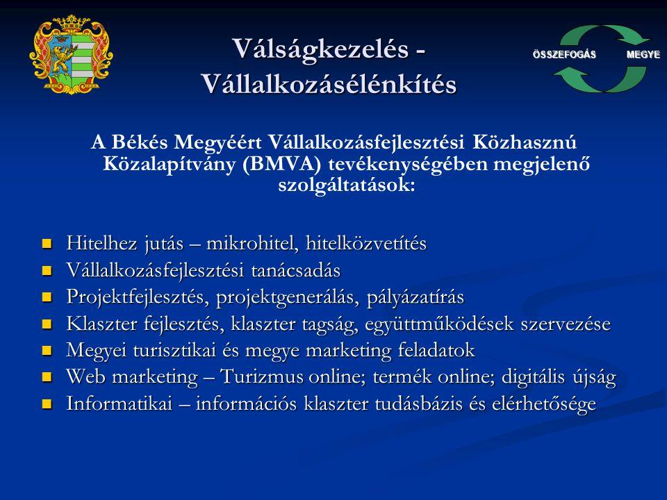 ÖSSZEFOGÁSMEGYE Válságkezelés - Vállalkozásélénkítés A Békés Megyéért Vállalkozásfejlesztési Közhasznú Közalapítvány (BMVA) tevékenységében megjelenő szolgáltatások: Hitelhez jutás – mikrohitel, hitelközvetítés Hitelhez jutás – mikrohitel, hitelközvetítés Vállalkozásfejlesztési tanácsadás Vállalkozásfejlesztési tanácsadás Projektfejlesztés, projektgenerálás, pályázatírás Projektfejlesztés, projektgenerálás, pályázatírás Klaszter fejlesztés, klaszter tagság, együttműködések szervezése Klaszter fejlesztés, klaszter tagság, együttműködések szervezése Megyei turisztikai és megye marketing feladatok Megyei turisztikai és megye marketing feladatok Web marketing – Turizmus online; termék online; digitális újság Web marketing – Turizmus online; termék online; digitális újság Informatikai – információs klaszter tudásbázis és elérhetősége Informatikai – információs klaszter tudásbázis és elérhetősége