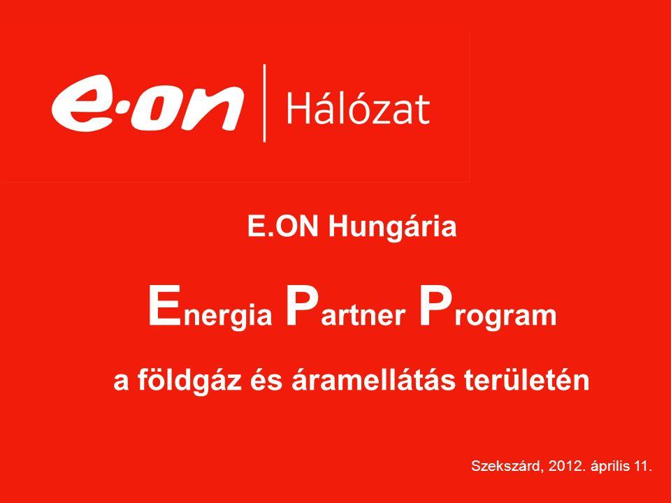E.ON Hungária E nergia P artner P rogram a földgáz és áramellátás területén Szekszárd, 2012.