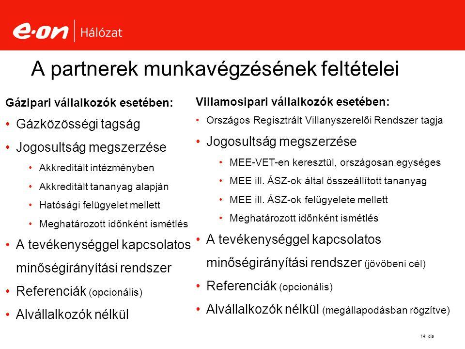 A partnerek munkavégzésének feltételei Gázipari vállalkozók esetében: Gázközösségi tagság Jogosultság megszerzése Akkreditált intézményben Akkreditált tananyag alapján Hatósági felügyelet mellett Meghatározott időnként ismétlés A tevékenységgel kapcsolatos minőségirányítási rendszer Referenciák (opcionális) Alvállalkozók nélkül 14.