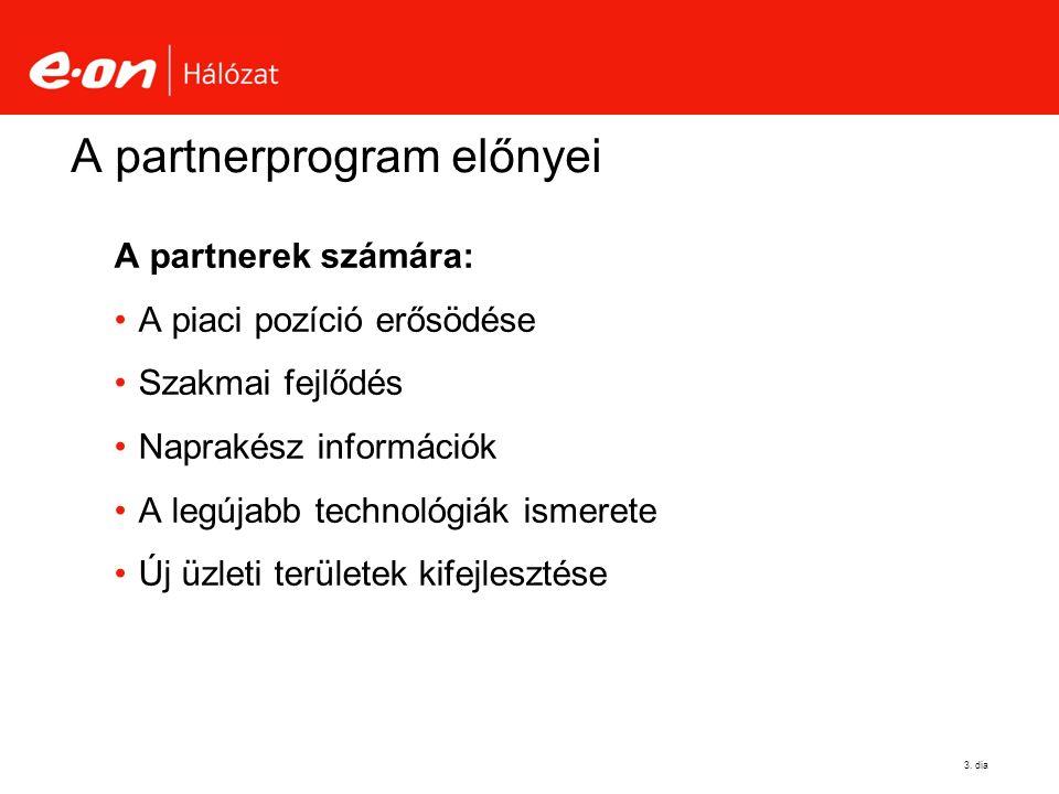 3. dia A partnerprogram előnyei A partnerek számára: A piaci pozíció erősödése Szakmai fejlődés Naprakész információk A legújabb technológiák ismerete