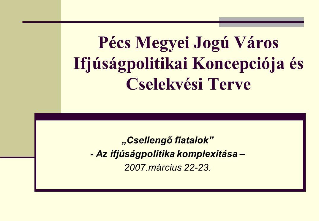 """Pécs Megyei Jogú Város Ifjúságpolitikai Koncepciója és Cselekvési Terve """"Csellengő fiatalok - Az ifjúságpolitika komplexitása – 2007.március 22-23."""