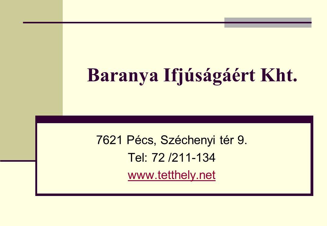 Baranya Ifjúságáért Kht. 7621 Pécs, Széchenyi tér 9. Tel: 72 /211-134 www.tetthely.net