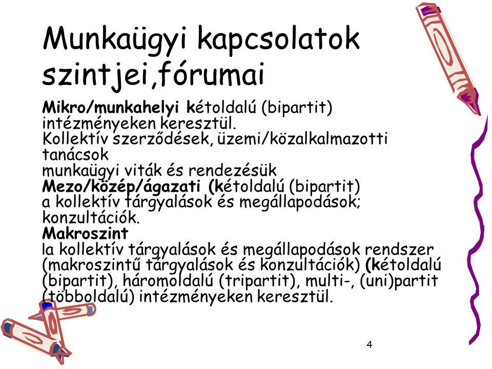 Munkaügyi kapcsolatok szintjei,fórumai Mikro/munkahelyi kétoldalú (bipartit) intézményeken keresztül.