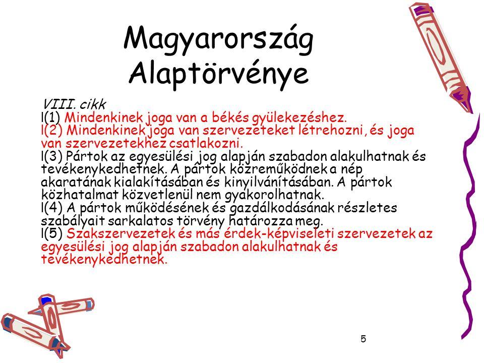 Magyarország Alaptörvénye VIII. cikk (1) Mindenkinek joga van a békés gyülekezéshez.