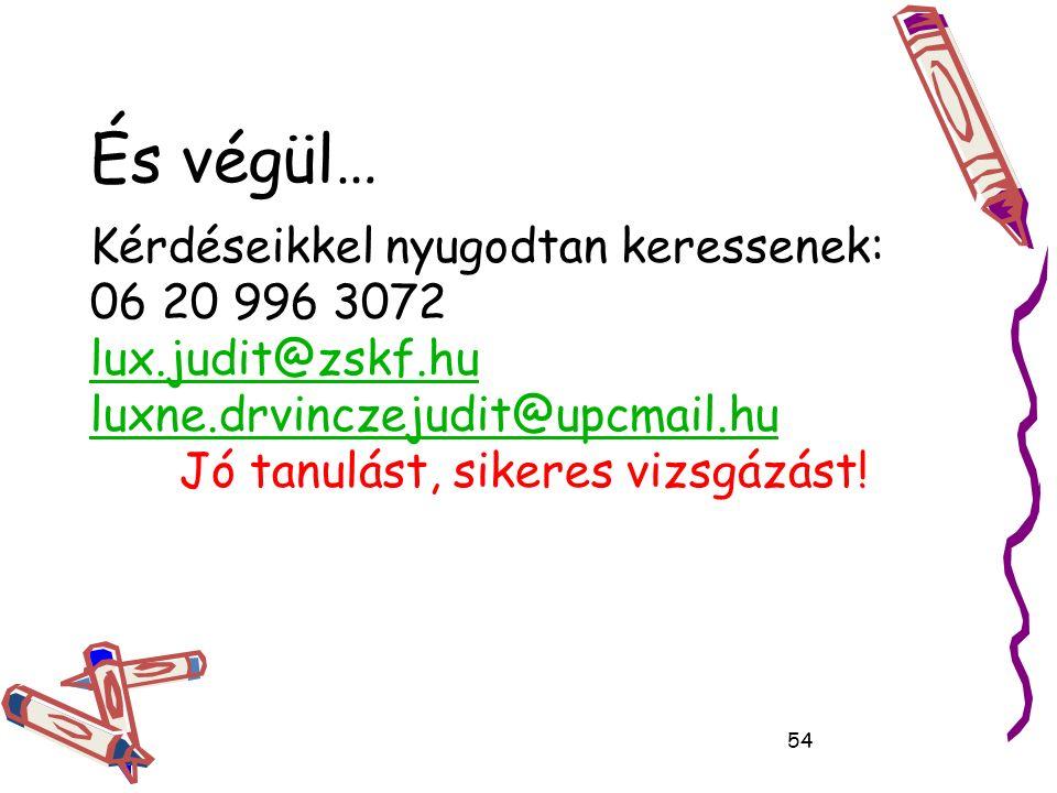 És végül… Kérdéseikkel nyugodtan keressenek: 06 20 996 3072 lux.judit@zskf.hu luxne.drvinczejudit@upcmail.hu Jó tanulást, sikeres vizsgázást.