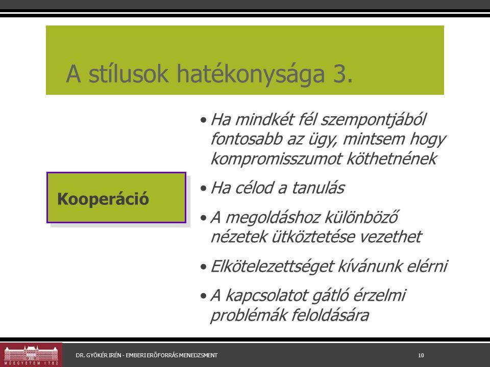 A stílusok hatékonysága 3.
