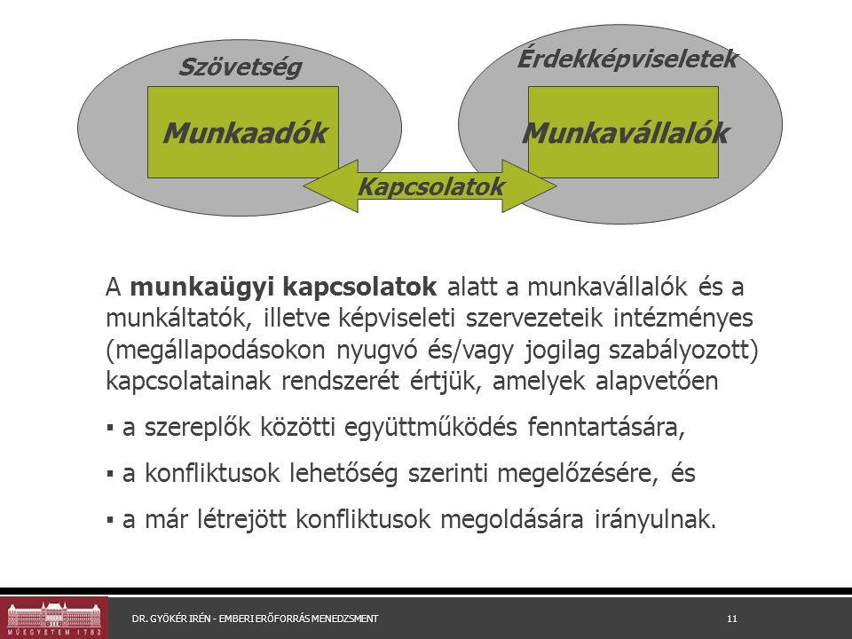 A munkaügyi kapcsolatok alatt a munkavállalók és a munkáltatók, illetve képviseleti szervezeteik intézményes (megállapodásokon nyugvó és/vagy jogilag szabályozott) kapcsolatainak rendszerét értjük, amelyek alapvetően ▪ a szereplők közötti együttműködés fenntartására, ▪ a konfliktusok lehetőség szerinti megelőzésére, és ▪ a már létrejött konfliktusok megoldására irányulnak.
