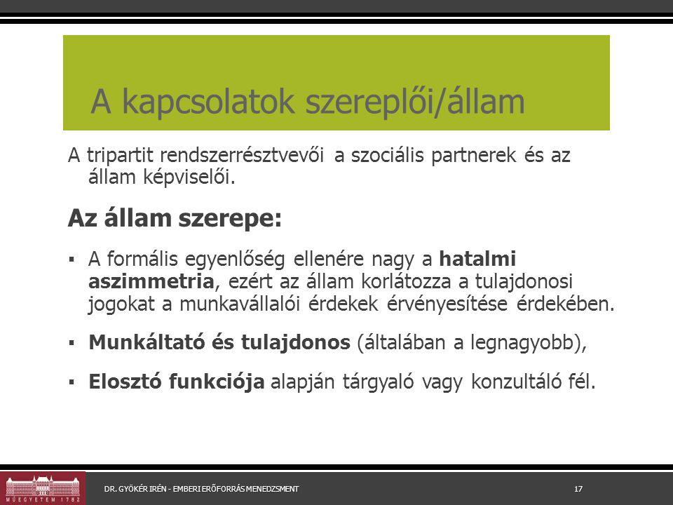 A kapcsolatok szereplői/állam A tripartit rendszerrésztvevői a szociális partnerek és az állam képviselői. Az állam szerepe: ▪ A formális egyenlőség e
