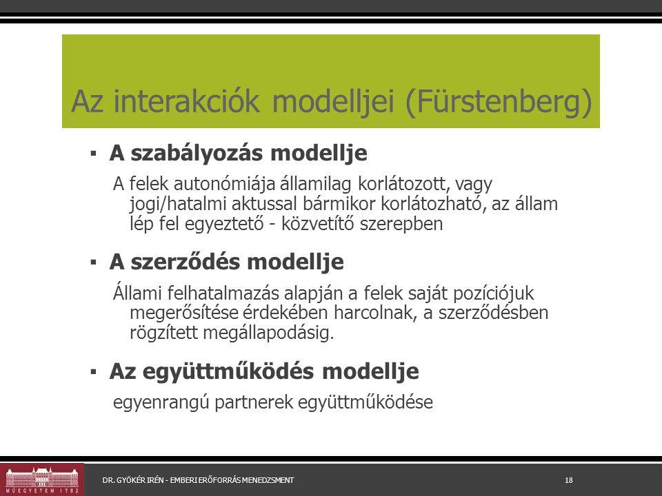 Az interakciók modelljei (Fürstenberg) ▪ A szabályozás modellje A felek autonómiája államilag korlátozott, vagy jogi/hatalmi aktussal bármikor korlátozható, az állam lép fel egyeztető - közvetítő szerepben ▪ A szerződés modellje Állami felhatalmazás alapján a felek saját pozíciójuk megerősítése érdekében harcolnak, a szerződésben rögzített megállapodásig.