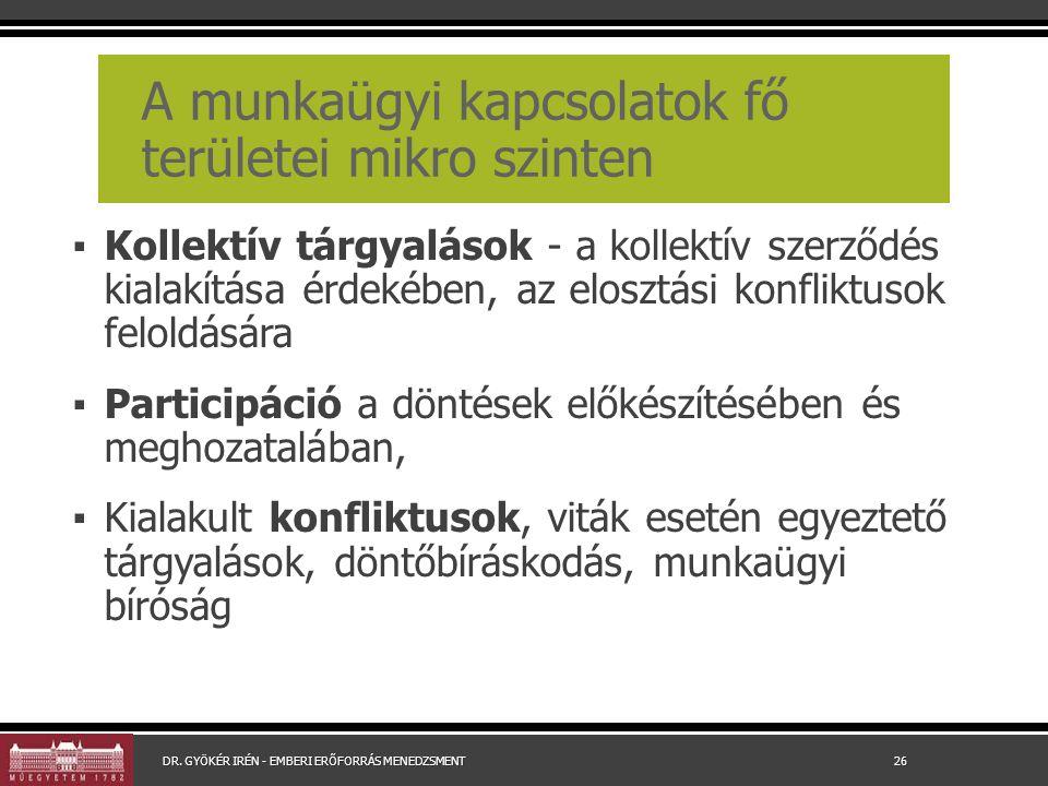 A munkaügyi kapcsolatok fő területei mikro szinten ▪ Kollektív tárgyalások - a kollektív szerződés kialakítása érdekében, az elosztási konfliktusok fe